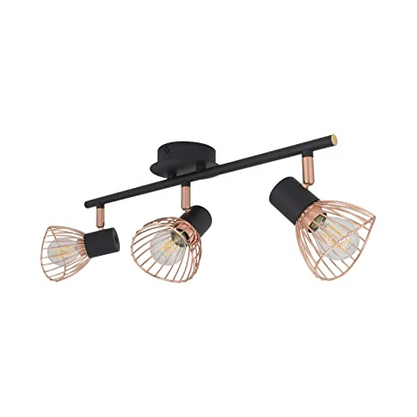 Lámpara de Techo Orientable Saban 3 Focos Cobre Negro ...