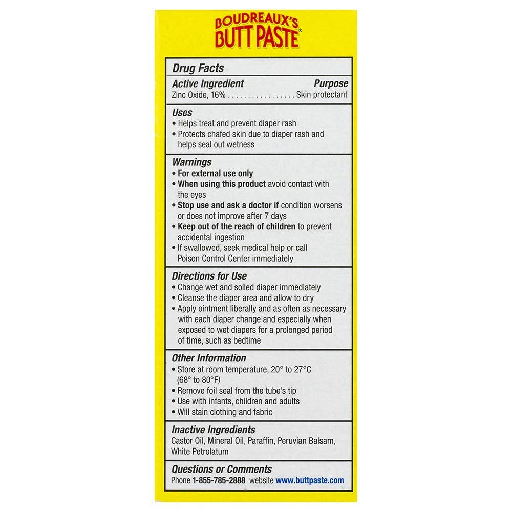 Boudreaux's Butt Paste Diaper Rash Ointment | Original | 2 oz  Tube |  Paraben & Preservative Free
