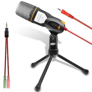 PC Micrófono, Micrófono de Condensador Externo para Podcast y Skype Chat, Adecuado para la Mayoría de los PC Portátil (Negro y Naranja): Amazon.es: ...