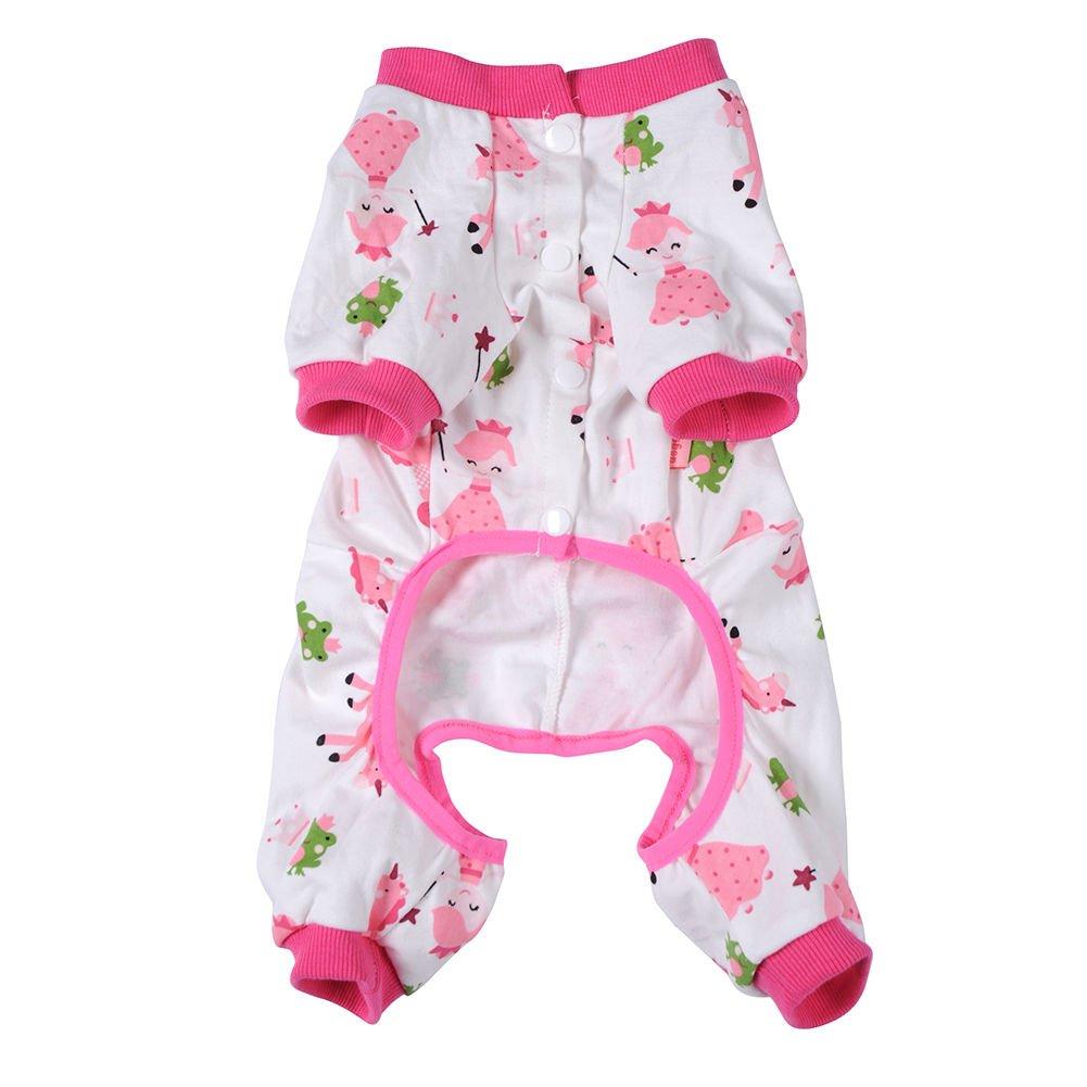 Pyjama Coton Doux Combinaison Cartoon Vêtements de Nuit Pour Chiot Petit Chien - Rose, L Generic