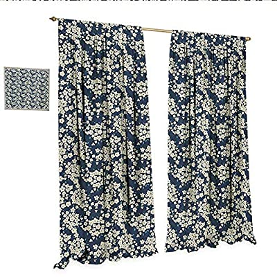 Flower Customized Curtains Little Wild Flowers in Summertime Meadow Seasonal Nature Stylized Artwork Thermal Insulating Blackout Curtain Night Blue Cream.jpg