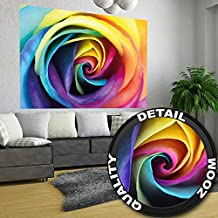 Rainbow Rose blossom mural by GREAT ART XXL Poster Wall decoration 140 x 100 cm