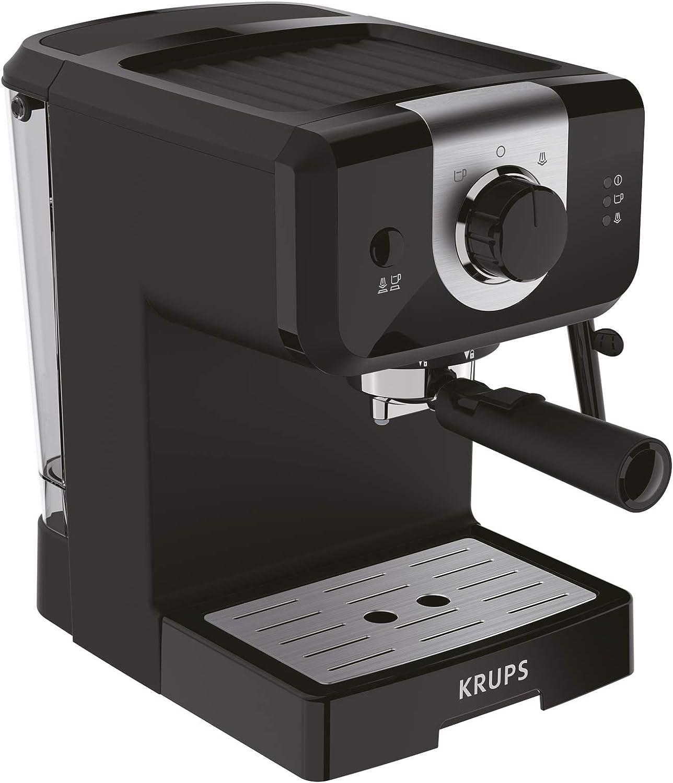 Krups Opio XP320810 - Cafetera, 15 bares de presión, calentador de taza y espumador de leche, control giratorio, negro/plata: Amazon.es: Hogar