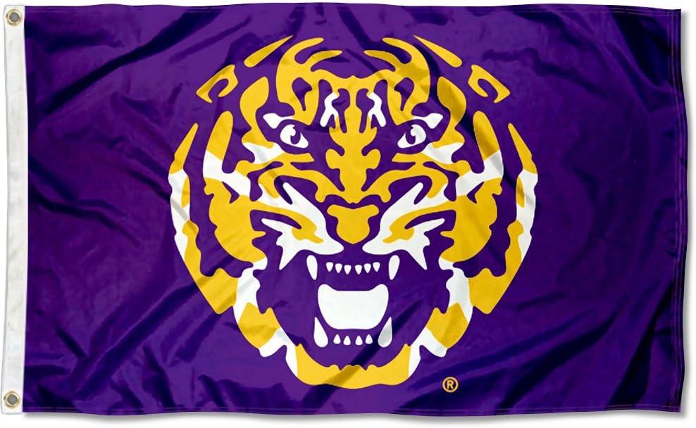 Louisiana State LSU Tigers bandera de cabeza de tigre: Amazon.es ...