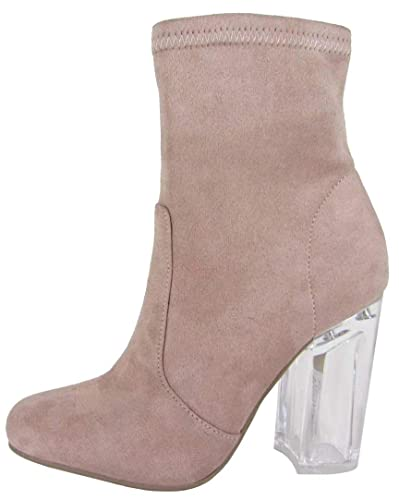 ab31838288e Speed Limit 98 Women s Closed Round Toe Clear Lucite Heel Stretch Sock Boot  (5.5 B