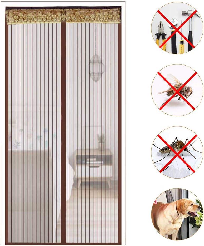 GAIBO Mosquitera Puerta para Puerta Magnética Corredera, Resistente Malla Super Fina Peso de Fondo Sin Perforar Cierre Automático Instalación Fácil,coffee_40x88in/100x220CM: Amazon.es: Bricolaje y herramientas