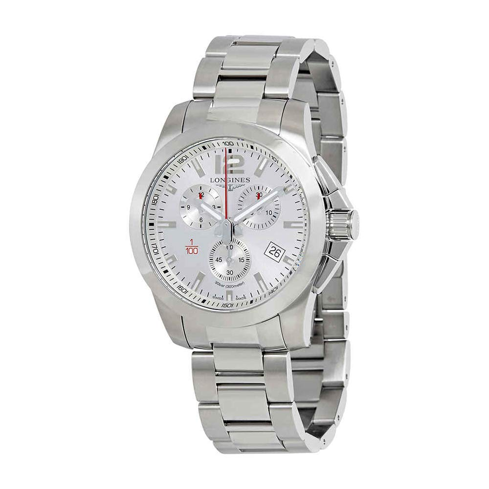 Amazon.com: Longines Conquest Chronograph Silver Dial Mens Watch L38004766: Watches