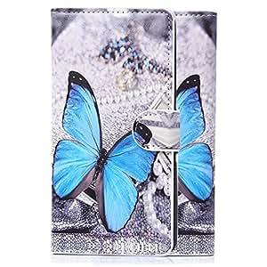 tinxi® Funda de alta calidad con Cordon de PU artificial piel para Acer Liquid Z410 contra portada caso de para choques con ranura para tarjeta con una mariposa azul