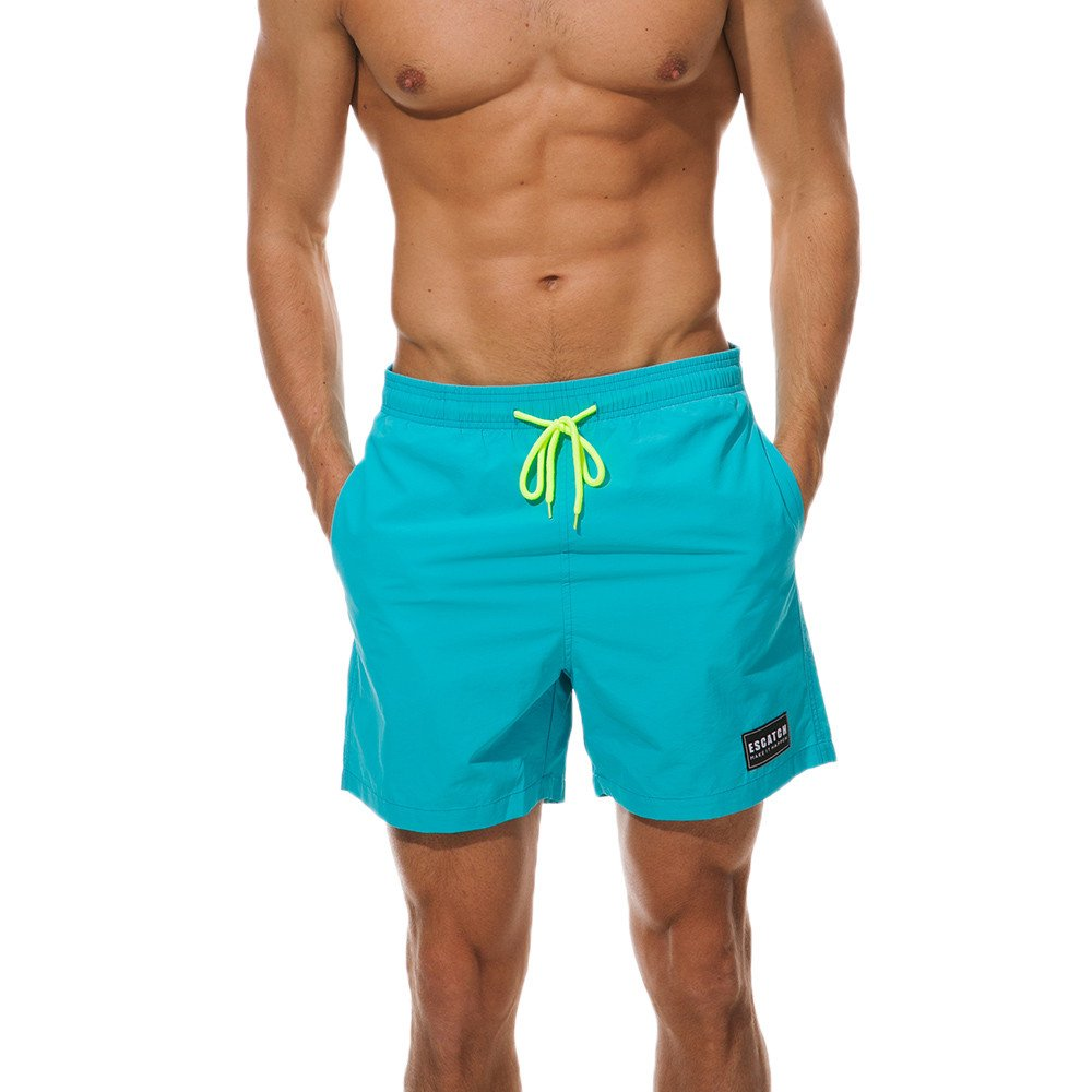 Kiasebu Men's Solid Swimwear Running Surfing Sports Plus Size Beach Shorts Trunks Board Pants with Porkets Sky Blue