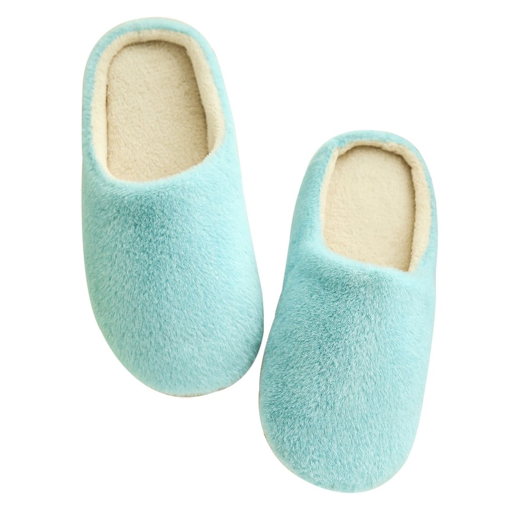 856store Unisex Autumn Winter Warm Soft Indoor Non-Silp Pure Color Slippers