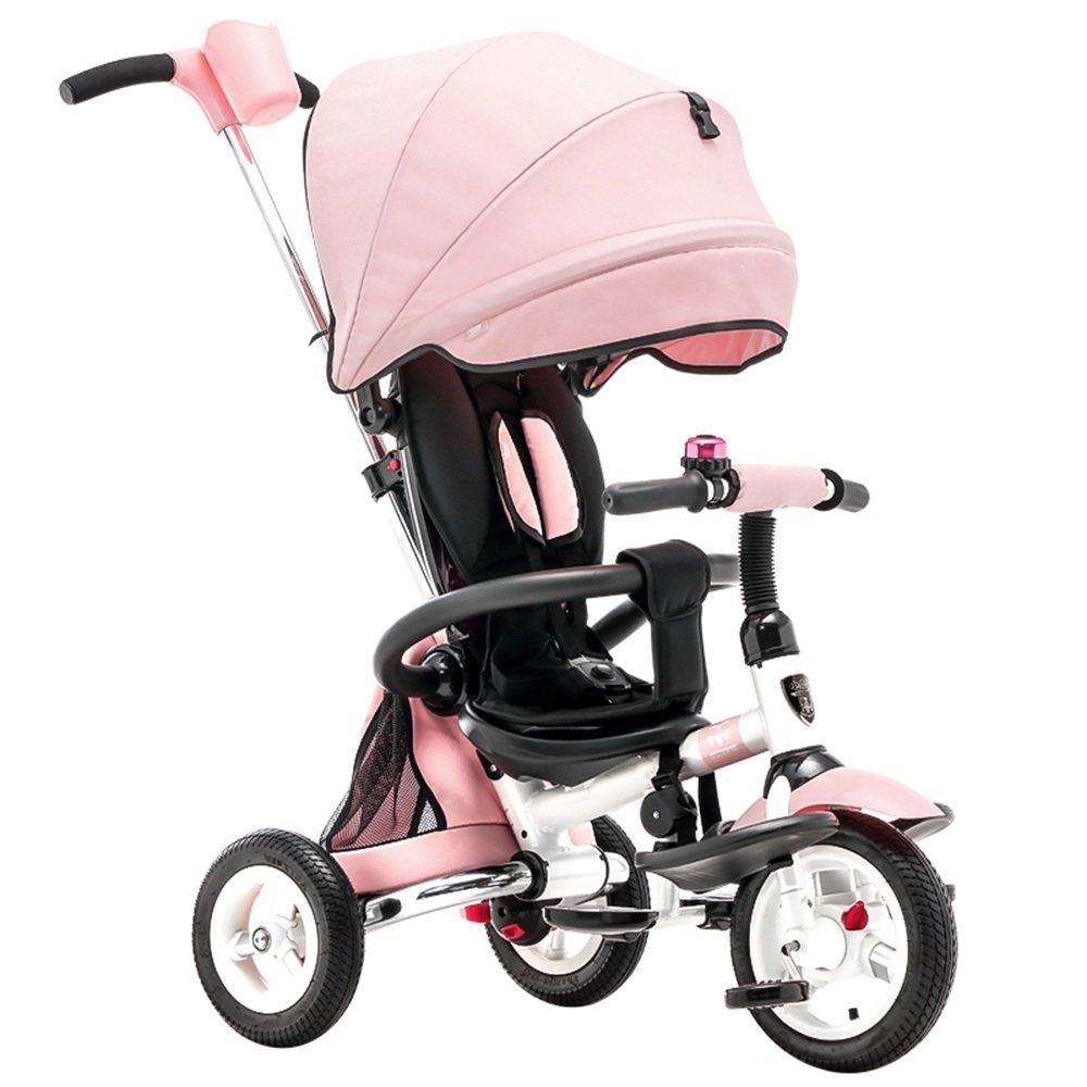 HAIZHEN マウンテンバイク キッズトライク3ウィーラー子供トリシクルライドオンバイク(親ハンドル付き) 新生児 B07CG2HKJCピンク ぴんく