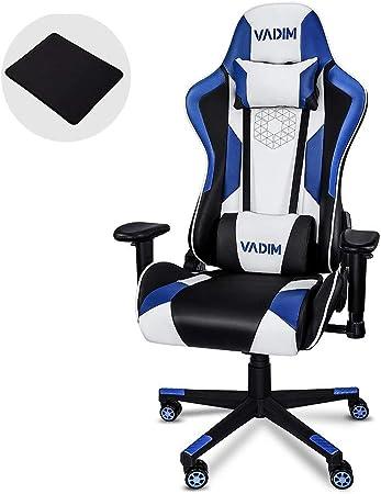 Todo para el streamer: VADIM Sillas Gaming Ergonómica Azul, Racing Silla de Escritorio de Oficina Gamer Regulable, Silla Giratoria de Oficina con Reposacabeza Apoyo y Cojín Lumbar