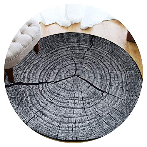 Collocation-Online 3D Dry Wood Grain Ring Section Round Large Carpet for Living Room Kids Room Anti-Slip Chair Table Floor Rug tapetes para casa,2,Diameter 180CM