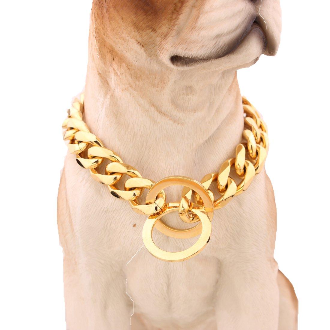 MCSAYS 15mm Largo Hip Hop Tono dorato Curb Cuban Link Acciaio inossidabile 316L Dog Choke Collare a catena 16-34(18 pollici)