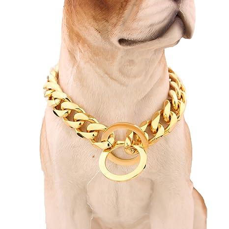 Collar de cadena para perro, de MCSAYS, en acero inoxidable 316L, de 15 mm de ancho y 51-86 cm de largo, con eslabones groumet, en tono dorado