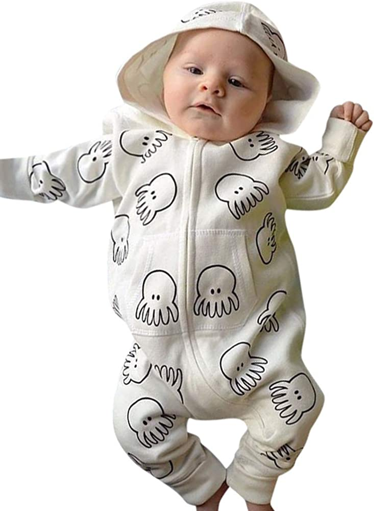 Winter Baby Romper,Fineser Clearance Sale!!Toddler Baby Girl Boy Long Sleeve Cartoon Print Hooded Jumpsuit Romper Outfits