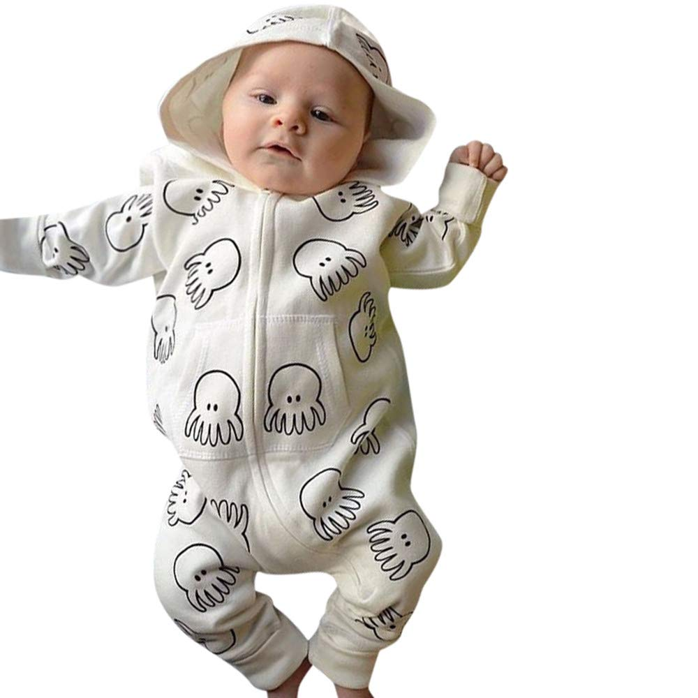 LNGRY Baby Romper, Toddler Newborn Kids Girls Boys Cartoon Octopus Print Hooded Pocket Jumpsuit Romper Outfits