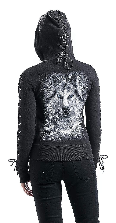 Spiral Gilet zippé à capuche avec manches à laçage pour femme Motif loup Noir//blanc brillant