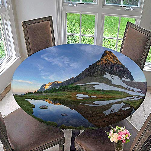 Mikihome Round Premium Tablecloth Landscape Wallpapers Background Stain Resistant 47.5
