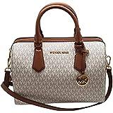 Michael Kors Women's Hayes Signature Zip Large Duffle Satchel Handbag Vanilla/Luggage New 2019