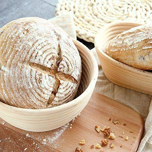 2 Pack of 5 Inch Round Brotform Banneton Proofing Baskets with Liner Bread Bowl for Baking Dough with Rising Pattern by Jranter (Image #6)