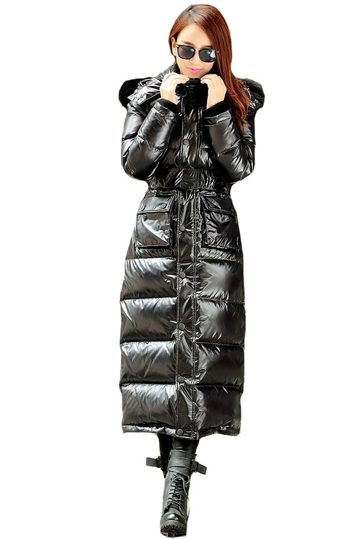 queenshiny Damen Lange Daunenjacke Mantel mit Waschbär Pelz Kragen mit Kapuze unterhalb der Knie Winter