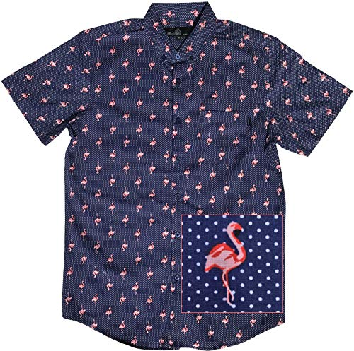 Official Molokai Shirts (Flamingo (Dotted Pattern), Medium)