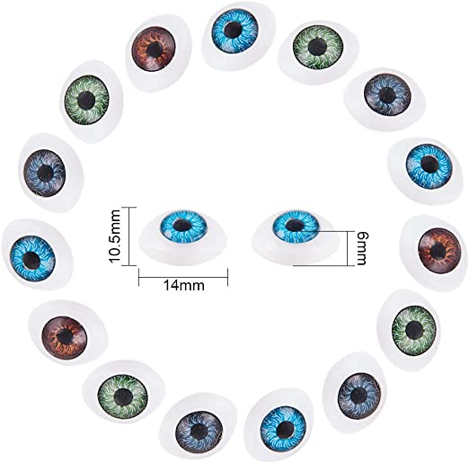 PandaHall 120 z/ählt Kunststoff Scary Eyes Hohl Oval Flat Eyes H/älfte f/ür DIY Handwerk Puppen Porzellan oder Reborn Puppe B/är Stofftier Spielzeug zuf/ällig 4 Farben