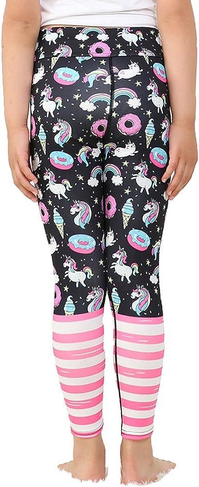 Mxssi Yoga Pants Jogging Teenager Fitness Leggings colorfu l Kids Skinny Sports Trousers Slim Cartoon Print Cute Girl