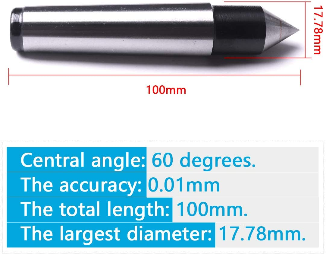 Atoplee 1pc MT2 Live Center Morse Taper Triple Bearing 2 Mt .0002 for High Speed Turning CNC Work