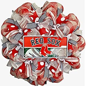 Boston Red Sox Baseball Sports Wreath Handmade Deco Mesh 59