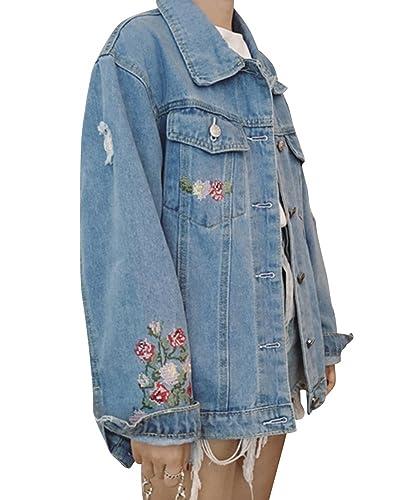 Mujer Suelto Bordado Chaqueta De Mezclilla Denim Jacket