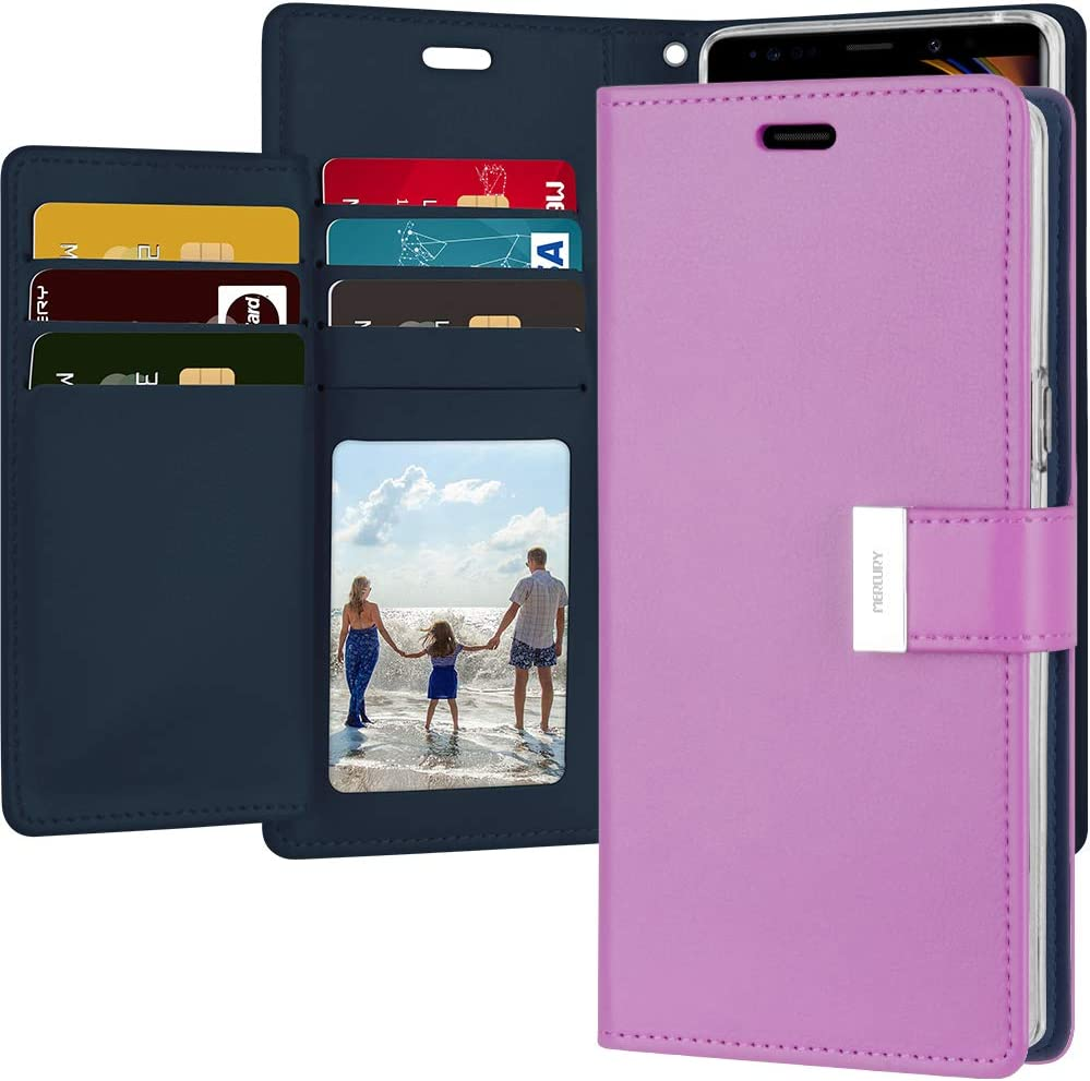 Goospery Rich Wallet for Samsung Galaxy Note 9 Case (2018) Extra Card Slots Leather Flip Cover (Purple) NT9-RIC-PPL