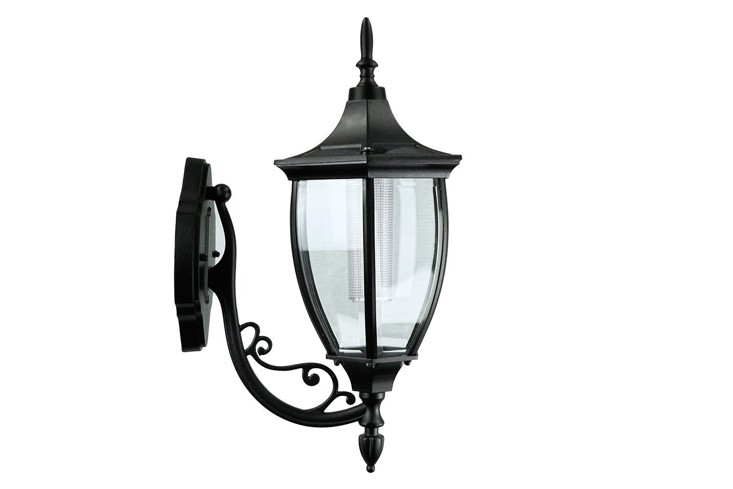 Sun-Ray 312079 Crestmont Wall Mount Solar Lantern, No Wiring Needed, Batteries Included, 17.8 Inches, Black