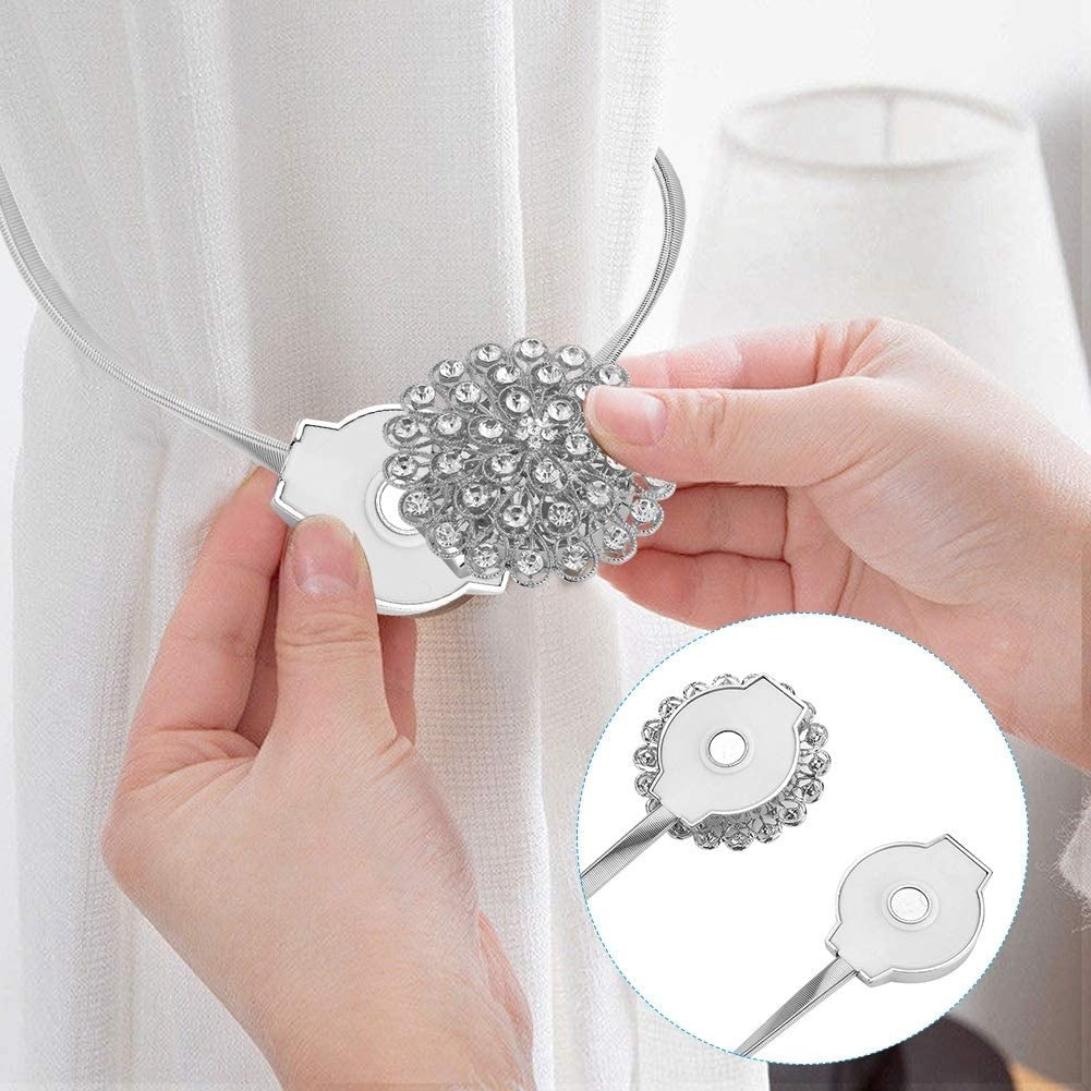 Unibell Magnetic Window Curtain Tieback Adjustable Crystal Buckle Holder Holdback Home Decor #2