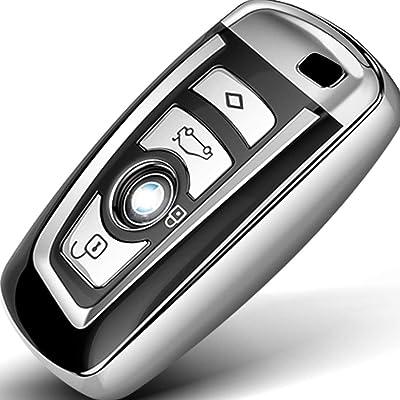 Intermerge for BMW Key Fob Cover, Soft TPU BMW Key Case Shell Pouch for BMW 1 3 4 5 6 7 Series and BMW X3 X4 M5 M6 GT3 GT5 BMW Keyless Entry Key Cover_Silver: Automotive