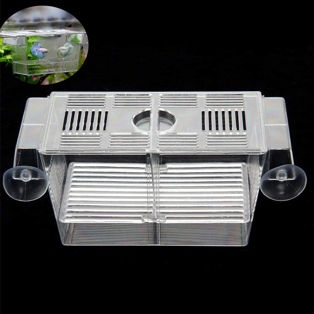 Aquarium Fish Tank Hatchery Breeding Boxes, Acrylic White Breeder Isolation Divider Hatching Incubator Boxes Accessory…