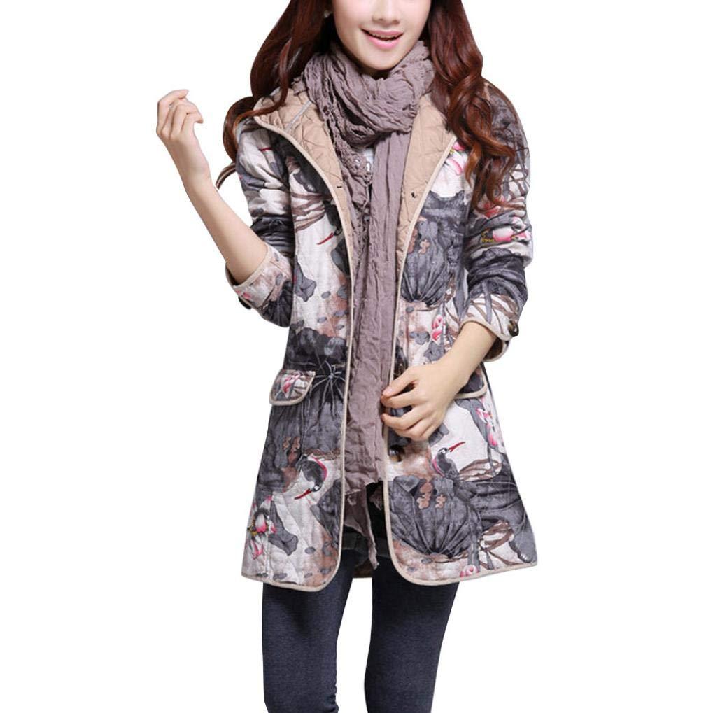 Pandaie Jacket,Women Winter Warm Parka Folk-Custom Lotus Print Hoodie Cotton Padded Coat