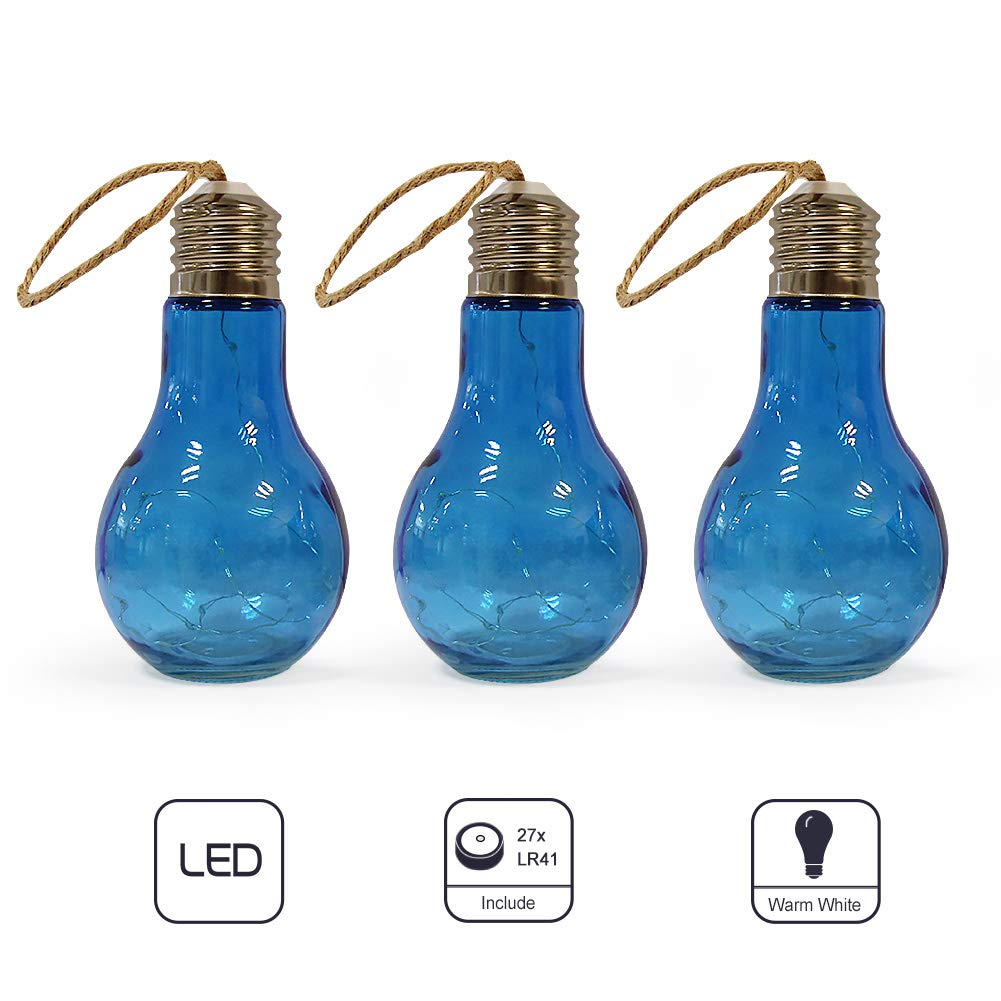 LED-36AD-BLU-new 3 Pack, Blue MJ PREMIER Glass Bulb Shape String Lights Edison Blub Design Battery Operated 10 LED Hanging Lights for Home Decor Holiday Party Wedding Indoor Outdoor Decoration