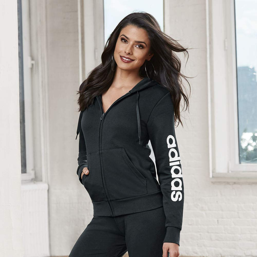 adidas Women's Essentials Linear Full-zip Hoodie, Black/White, XX-Large by adidas