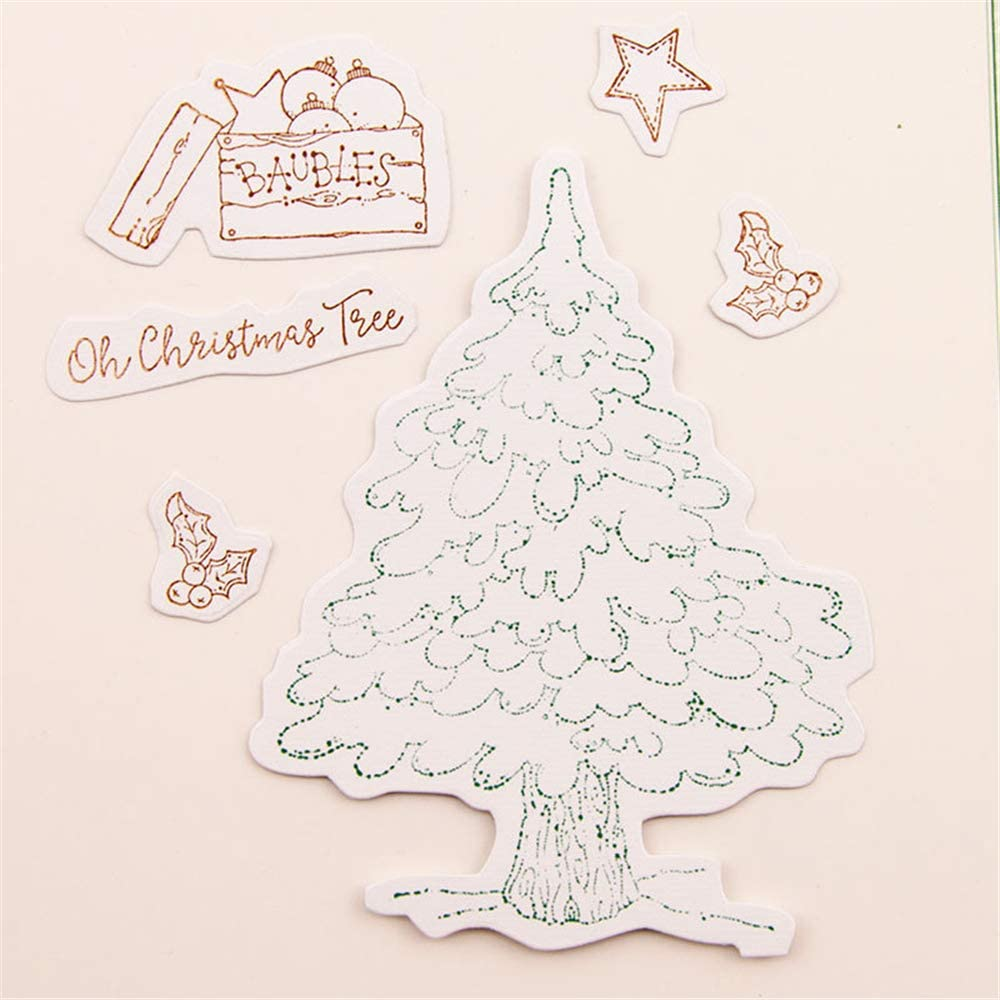 4.1 by 5.8 Inch Christmas Tree Flower Bow Decorated Door Window Stamps and Dies Set for Card Making and Scrapbooking T1517
