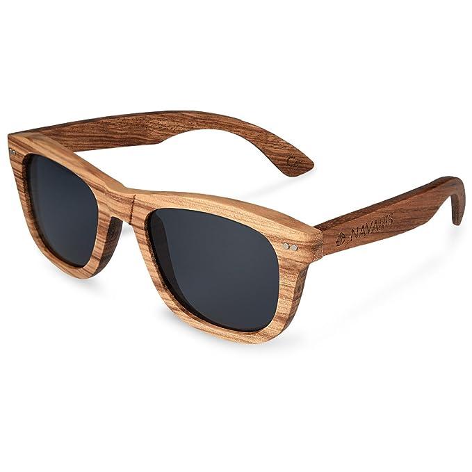 Navaris gafas de sol UV400 - Gafas de madera aspecto cebra para hombre y mujer - Gafas de sol polarizadas en diferentes colores - Color gris: Amazon.es: ...