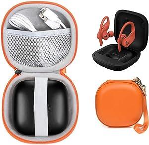 WGear Customized Travel Case for Beats Powerbeats Pro - Totally Wireless Earphones, Mesh Cable Pocket, Elastic Secure Strap, Elite Wrist Strap (Bright Orange)