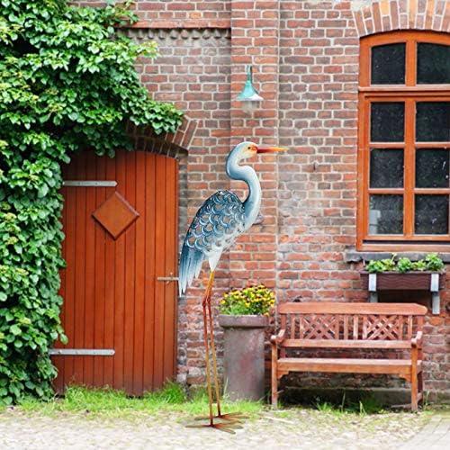 Garden Egret Statues 42.5 Inch Metal Standing Art Sculpture Decorative White Crane Garden Decor for Home, Patio and Lawn