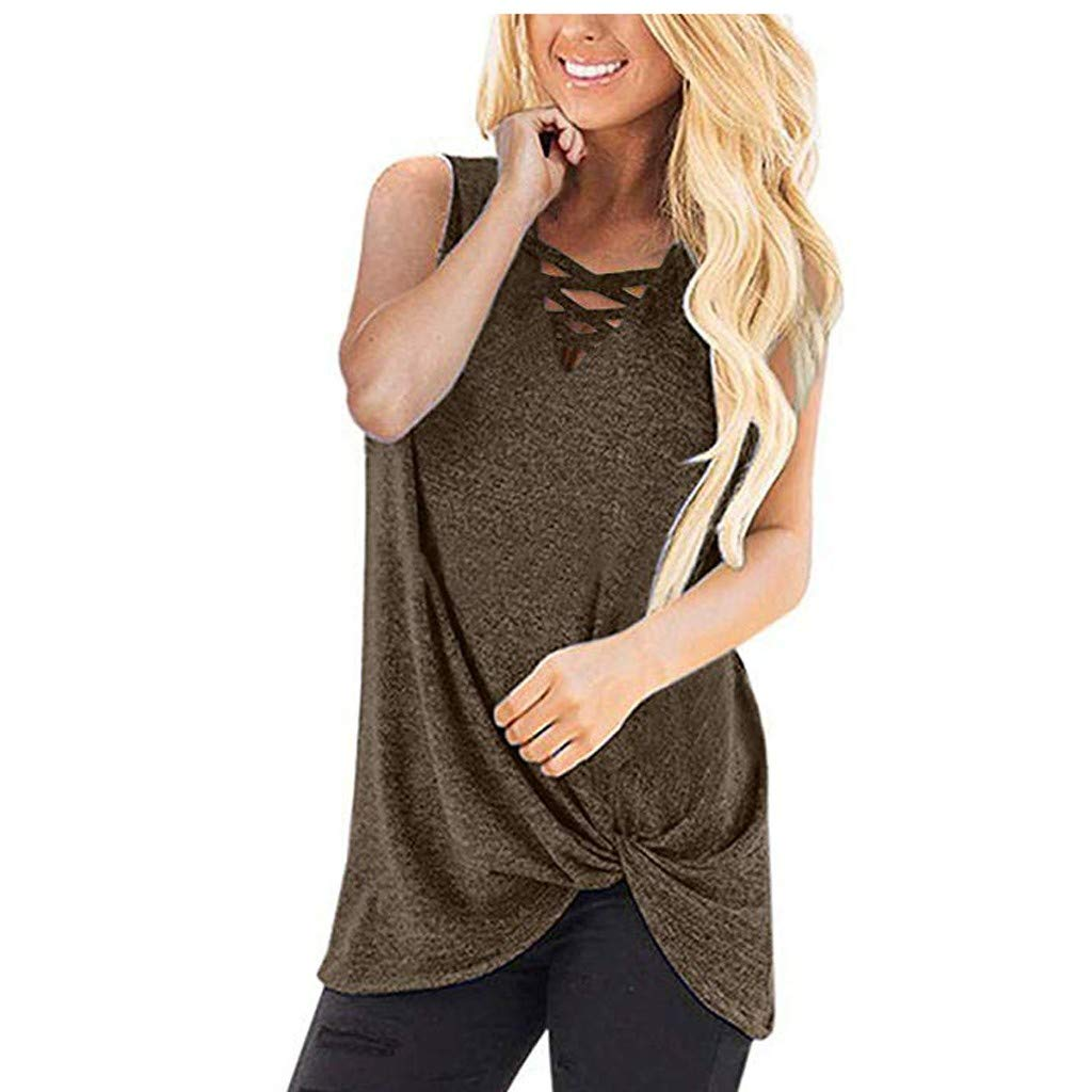 Women's Sexy Sleeveless Criss Cross Casual Tank Tops Women Solid Color Twist Knot Loose T Shirts
