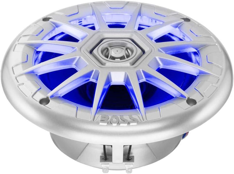BOSS Audio MRGB65 6.5 400W Boat Marine RGB LED Light Speakers Silver 2 Pairs 4