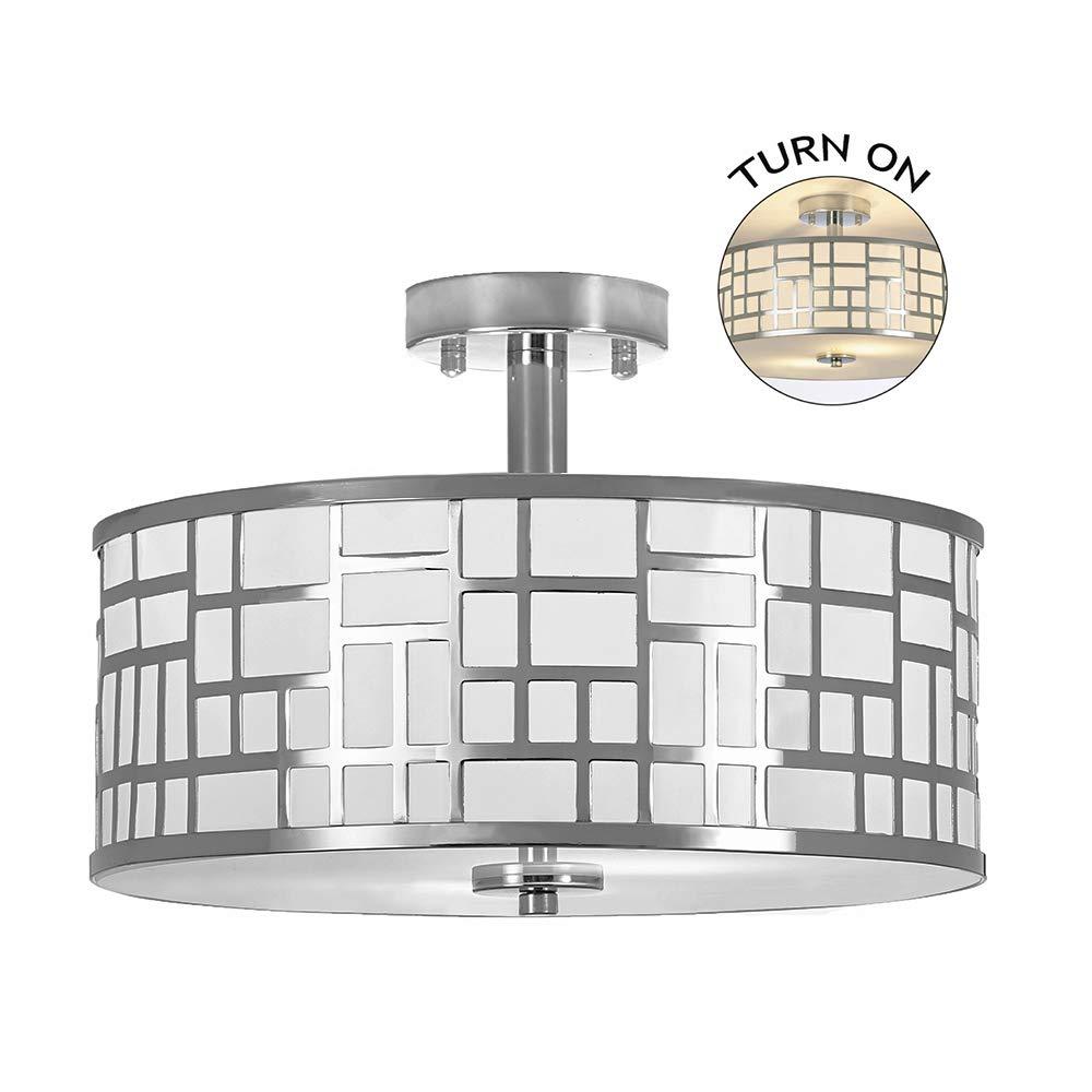 POPILION 2 Light Chrome Finish Flush Mount Ceiling Light,Tempered Glass Ceiling Lamp