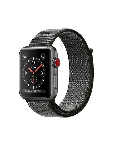 Apple Watch Series 3 38mm Smartwatch (GPS + Cellular, Space Gray Aluminum Case, Gray Sport Loop) (Renewed)