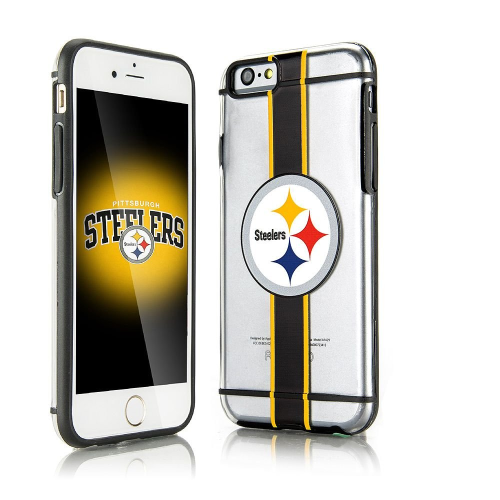iPhone 6/6s Case, Dreamwireless Hydroclear SMU 3D Print Pittsburgh Steelers Dual Layer [Shock Absorbing] Protection Hybrid PC/TPU Rubber Case Cover for Apple iPhone 6/6s, Black/Yellow