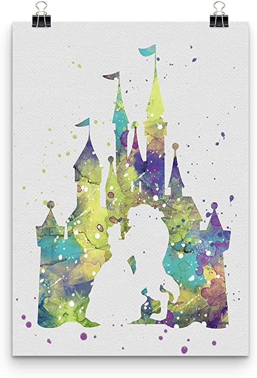 Beauty and the Beast Disney Art Print Watercolor Wall Art Canvas Framed Belle
